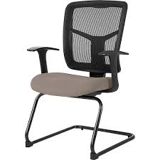 Lorell Adjustable Arms Mesh Guest Chair - Fabric Brown Seat - Mesh Black  Back - Cantilever Base - 27.5