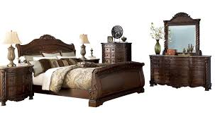 north shore dark brown wood glass 2pc bedroom set w queen sleigh
