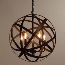 Oil Rubbed Bronze 5 Light Globe Chandelier For Exciting Kitchen Lighting Design