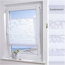 ourdeco plissee ausbrenner mit blumenmotiv 55 x 130 cm weiß blumenmotiv durchsichtig lichtdurchlässig klemmen montage ohne
