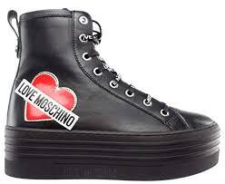 Love Moschino Damen Schuhe High Top Sneaker SCA Nod Gomma 60 VIT Nappato Nero