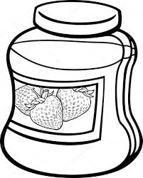 Black And White Cartoon Illustration Of Strawberry Jam In A Glass Jar For Coloring Book Vector By Izakowski