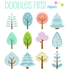 Cute Winter Tree Set Digital Clip Art for Scrapbooking Card Making Cupcake Toppers Paper Crafts