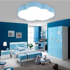 moderne kurze kinder schlafzimmer dekoration malen blau wolke design eisen decken le acryl lenschirm led beleuchtung