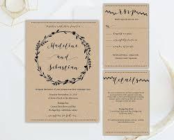 Rustic Heart Circular Vines Black Wedding Invitation Set Template