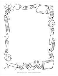 school supplies clip art black and white