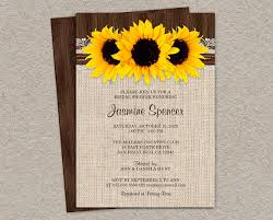 Rustic Country Sunflower Bridal Shower Invitations DIY Printable Invites Wedding