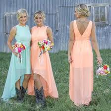 High Low Cheap Bridesmaid Dresses 2017 Pleated Chiffon A Line Country Style Rustic Maid Of Honor Gowns Formal Wedding Guest CPS580