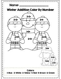 Color By Code Worksheets Number Winter Many Interesting On Kindergarten