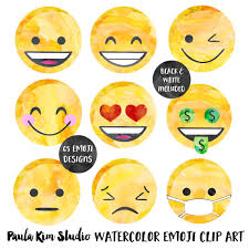 Watercolor Emoji Face Collection Commercial Use Clip Art