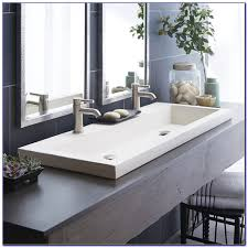 Ikea Braviken Double Faucet Trough Sink by Undermount Trough Bathroom Sink With Two Faucets Faucets Home