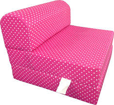 D&D Futon Furniture Pink White Dots Twin Size Chair Fold Foam Bed 1.8Lb  Density Sofa Beds 6x32x70