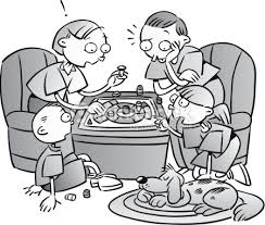 Family Playing Board Game Grayscale Spend Quality Time Together Its Night Vector Art