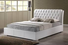 King Platform Bed With Headboard by Bedroom Decorative Modern White Faux Leather Queen King Platform