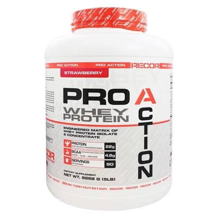 Recor Supplement Reaction Pro Action Whey Protein Supplement - Strawberry, 5lbs