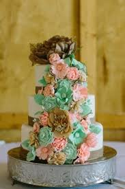 Rustic Burlap Cake With Adorable Mint And Peach Flowers Wedding Weddingcake