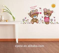 Room Decor Girls Gift Nursery Decals Bear Mural Wall Sticker 3d For Kids 5d
