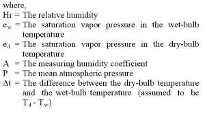 calculating relative humidity from and bulb temps and bp