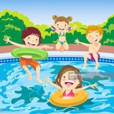 Children Jumping In The Pool Vector Art