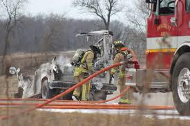 100 Postal Truck Fire Destroys Postal Truck Ignites Field Local Hngnewscom