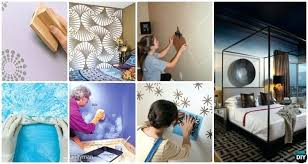 Diy Bedroom Wall Paint Ideas Patterned Painting And Techniques Picture Instructions
