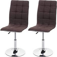 mendler 2x esszimmerstuhl hwc c41 stuhl küchenstuhl höhenverstellbar drehbar stoff textil braun