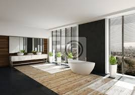 fototapete moderne freistehende badewanne in luxus badezimmer mit holzboden