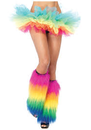 rainbow furry leg warmers