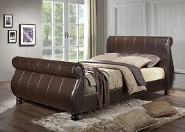 Birlea Marseille Sleigh Bed Faux Leather Brown Double Amazon