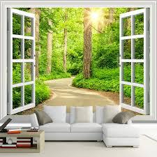 nach 3d foto tapete grün sonnenschein wald road fenster natur landschaft wandbild wohnzimmer sofa tv hintergrund tapete