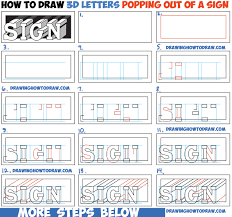 How to Draw Cool 3D Letters Popping Out of the Paper Easy Step by