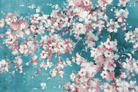 Cherry Blossom Curtain Panels by Portfolio Canvas Into The Cherry Blossom Teal By Bridges Painting