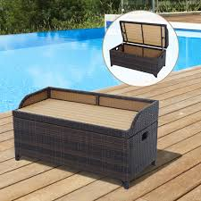 outsunny patio rattan storage bench wicker boxorganizer outdoor