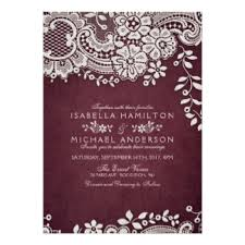 Burgundy Elegant Vintage Lace Rustic Wedding Card