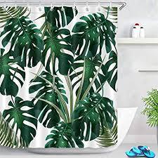 lb 150x180cm duschvorhang dunkel grün monstera blätter wasserdicht anti schimmel weiß polyester badezimmer vorhänge mit 10 haken tropisch dschungel
