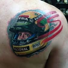 Amazing Mens Auto Racing Helmet Tattoo