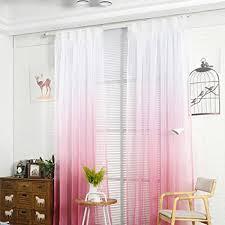 nibesser transparent farbverlauf gardine vorhang schlaufenschal deko für wohnzimmer schlafzimmer 245cmx140cm weiß und rosa