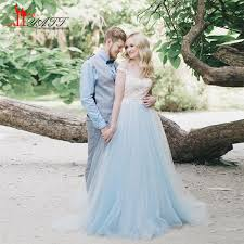 White Lace Light Blue Tulle Beach Wedding Dress Cap Sleeves Sheer Elegant Bridal Gown Backless Country