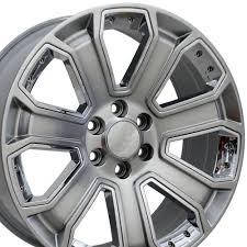 100 Black Rims For Trucks 22x9 Rim Fits GM Truck Silverado Hyper Wheel W Chrome With