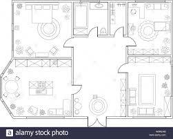 abstract vector plan der 2 schlafzimmer appartement mit