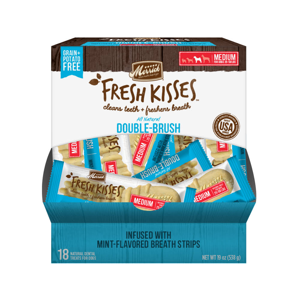 Merrick Fresh Kisses Medium Brush Dental Dog Treat - Single Serve Box, 18ct, 19oz, Mint Breath Strips