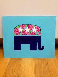 Diy Canvas Lilly Pulitzer Flower Print Navy And Turquoise Republican Elephant Painting Taylorstorrer