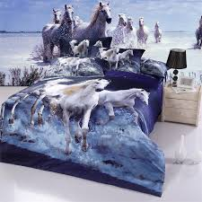 Queen Size 3D Oil Painting Galloping White Horse Bedding Set