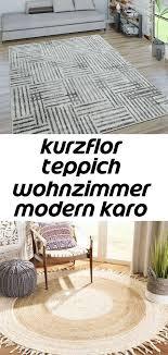 kurzflor teppich wohnzimmer modern karo linien design used