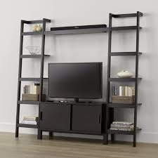 Crate And Barrel Leaning Desk by Sawyer Mocha Media Stand With Media Shelf And Two 18 U0027 U0027 Bookcases