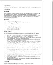 Sample Resume For Caregiver Private Duty