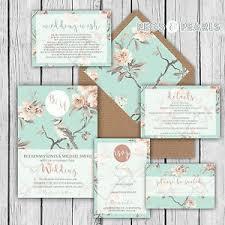 Image Is Loading Personalised Luxury Rustic Wedding Invitations Duck Egg Blue