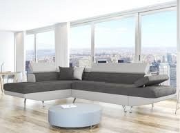 canap d angle design tissu canapé d angle en simili cuir et tissu gauche blanc gris