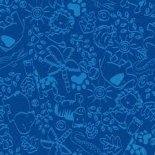 Animal Doodles Childrens Wall To Carpet Blue On