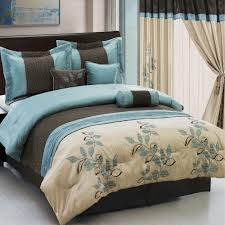 Brown And Blue Bedding by Pasadena Light Blue Metallic Coffee 11 Piece Bed In A Bag